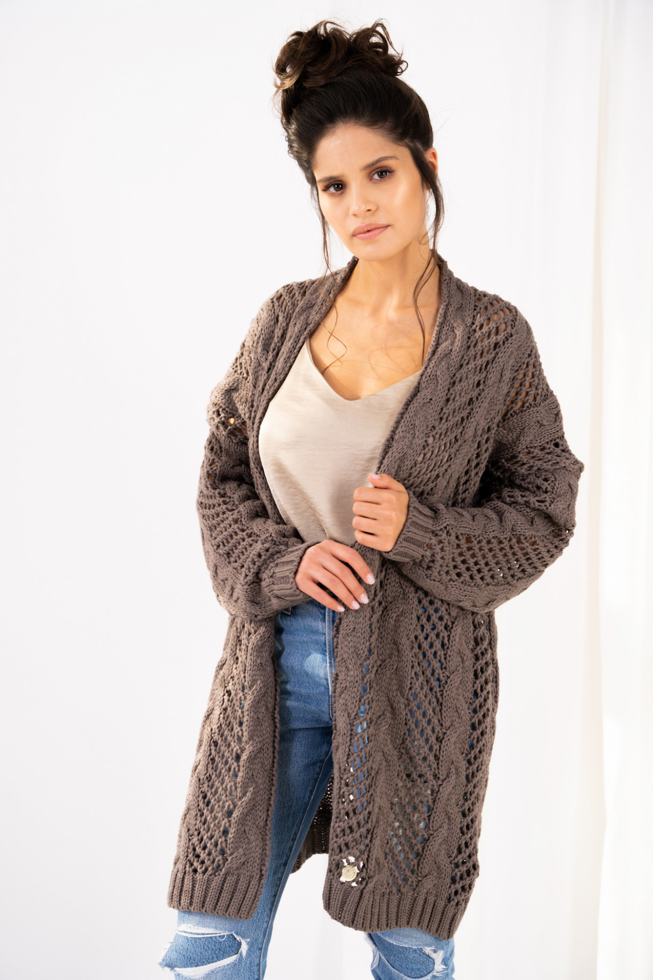 Openwork cardigan with braids Ophelia cappuccino