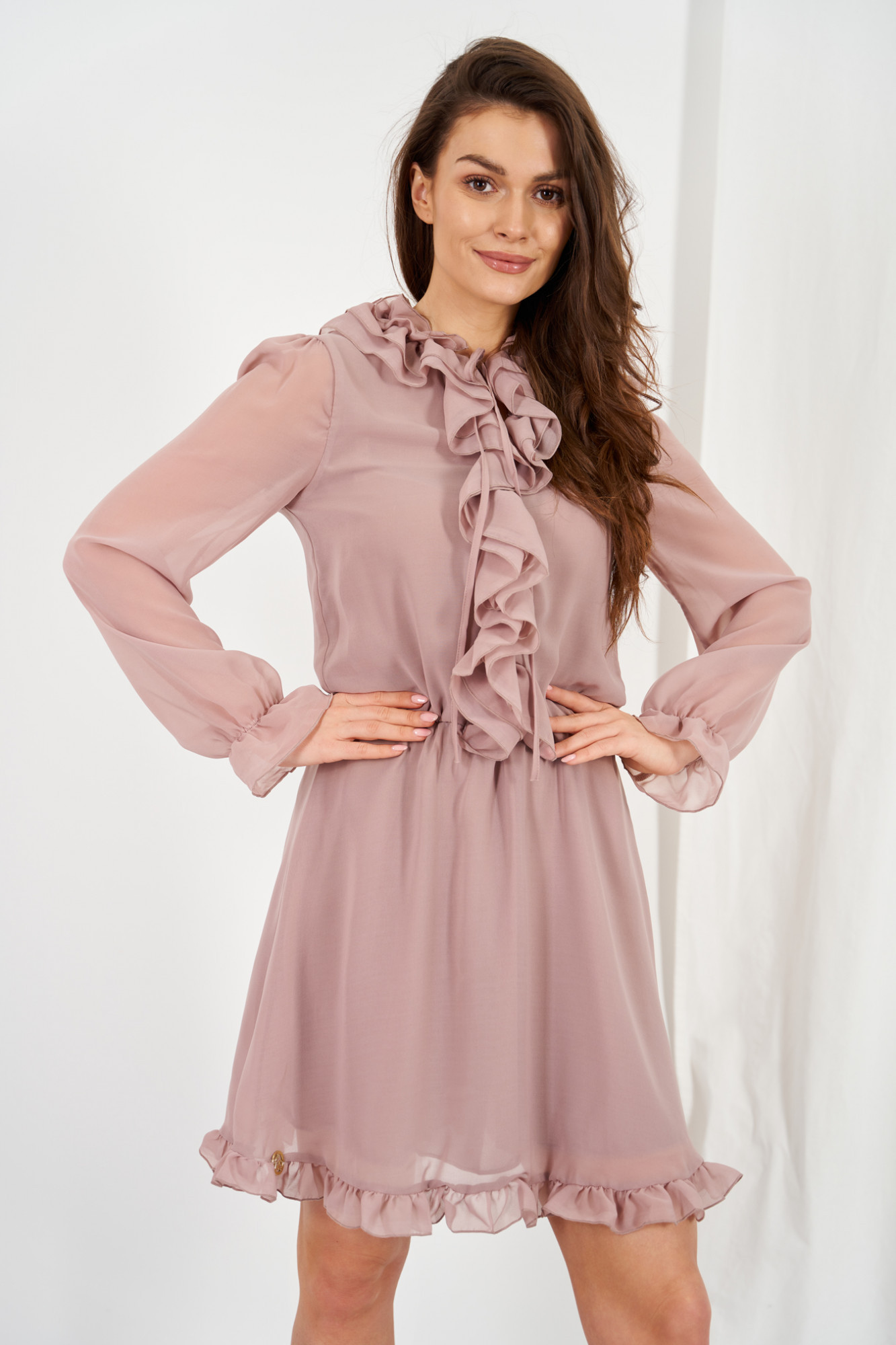 Chiffon dress with silk and ruffle Giselle cappuccino