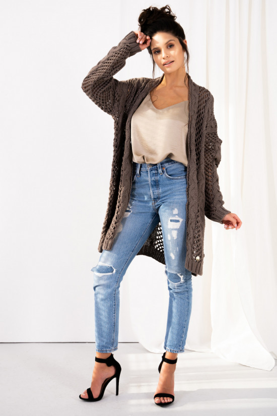 Openwork cardigan with braids Ophelia cappuccino 1