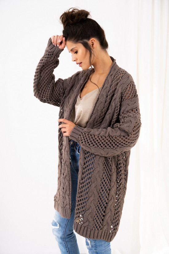Openwork cardigan with braids Ophelia cappuccino 2