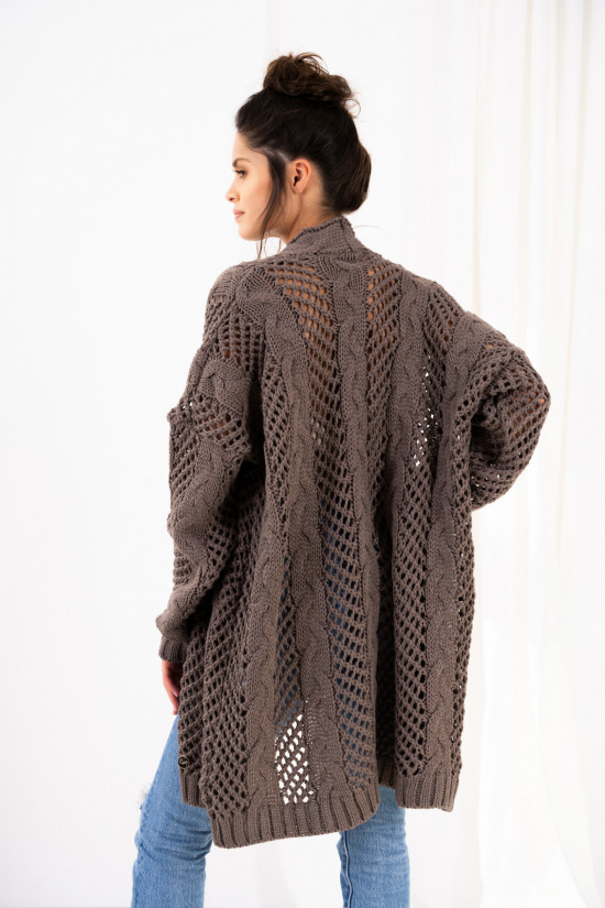 Openwork cardigan with braids Ophelia cappuccino 3