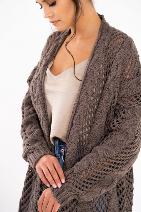Openwork cardigan with braids Ophelia cappuccino 4