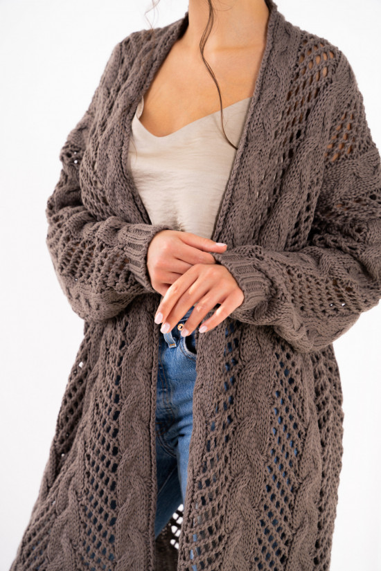 Openwork cardigan with braids Ophelia cappuccino 5