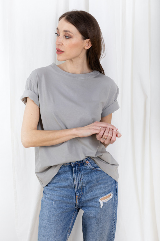 Basic t-shirt with rolled up sleeves Mimi stone