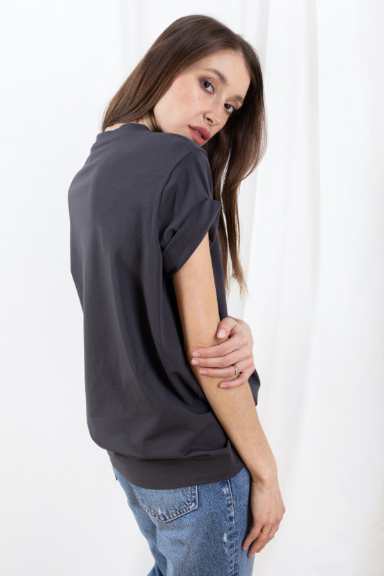 Basic t-shirt with rolled up sleeves Mimi graphite