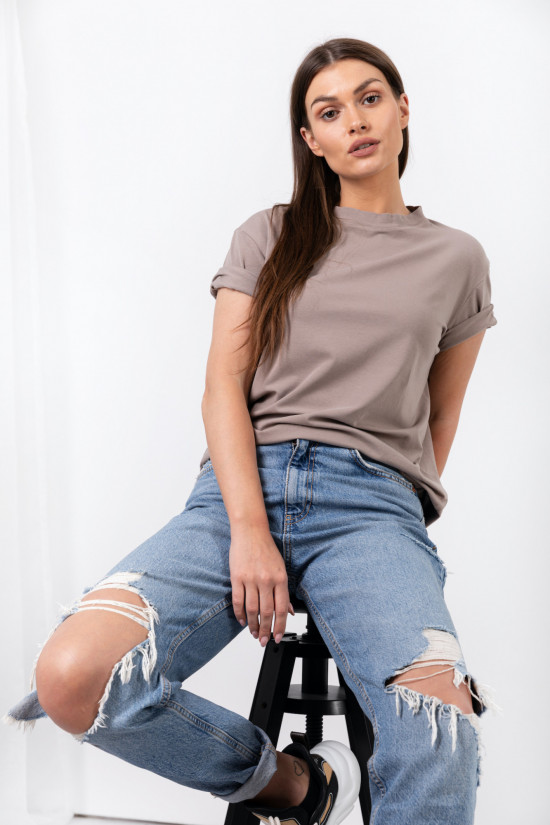 Basic t-shirt with rolled up sleeves Mimi taupe