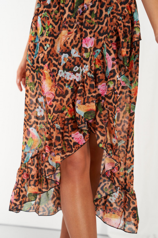 A silk blend skirt with a shorter front and a frill Amora exotic 3
