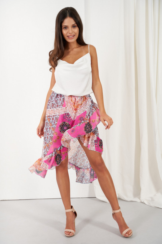 A silk blend skirt with a shorter front and a frill Amora marocco 1