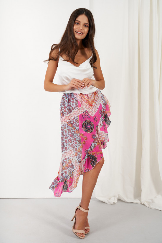 A silk blend skirt with a shorter front and a frill Amora marocco 2