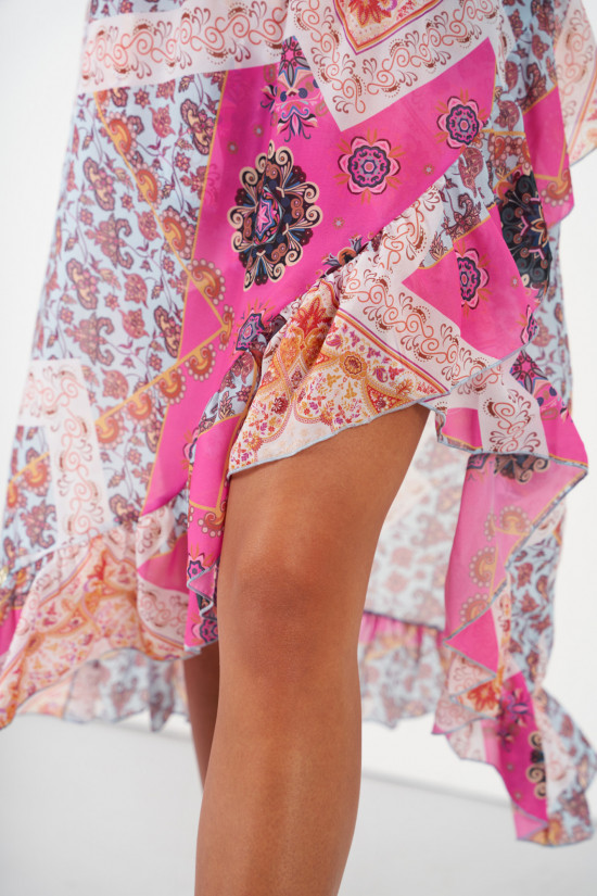 A silk blend skirt with a shorter front and a frill Amora marocco 4