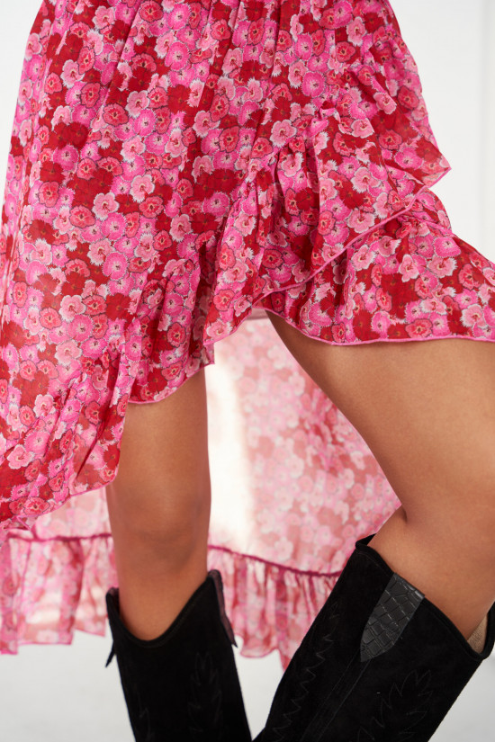 A silk blend skirt with a shorter front and a frill Amora meadow 4
