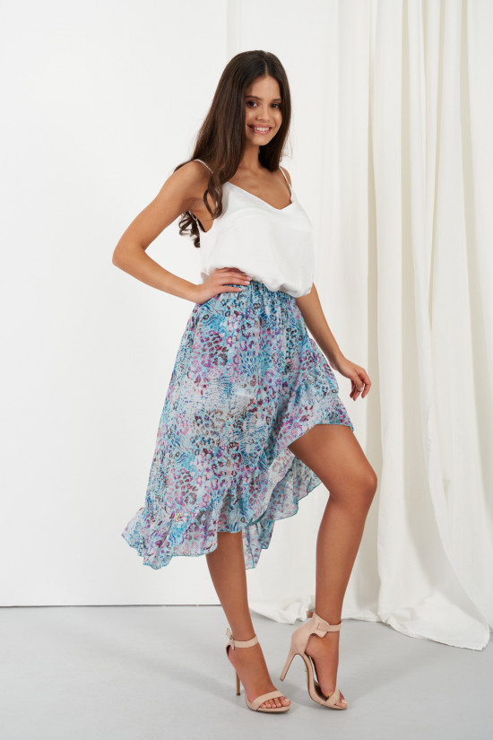 A silk blend skirt with a shorter front and a frill Amora blue panther 1