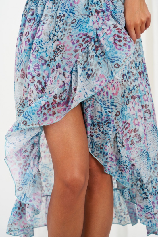 A silk blend skirt with a shorter front and a frill Amora blue panther 3