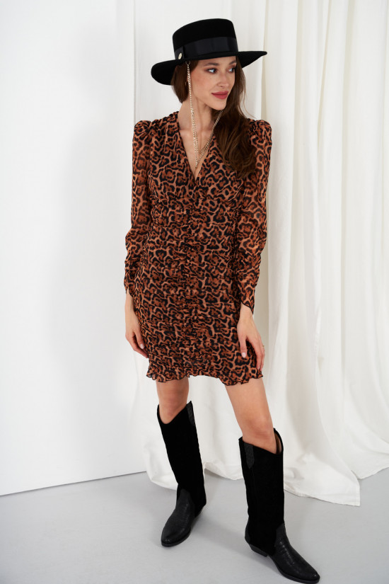 Dress with ruffles and puffed sleeves in patterns Valeria panther 1