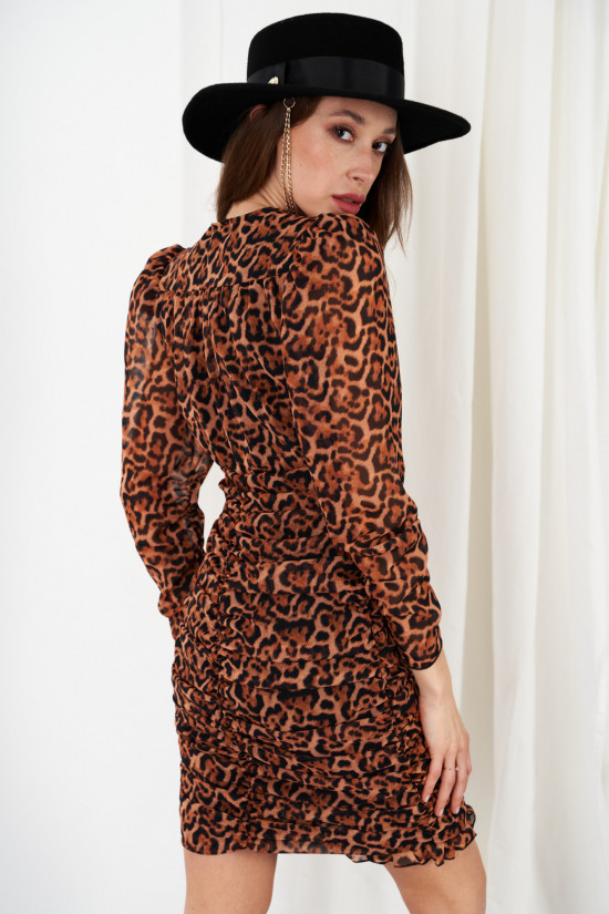Dress with ruffles and puffed sleeves in patterns Valeria panther 3