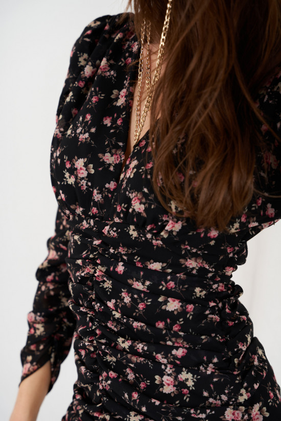 Dress with ruffles and puffed sleeves in patterns Valeria black with flowers 5