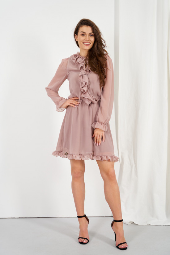 Chiffon dress with silk and ruffle Giselle cappuccino 2