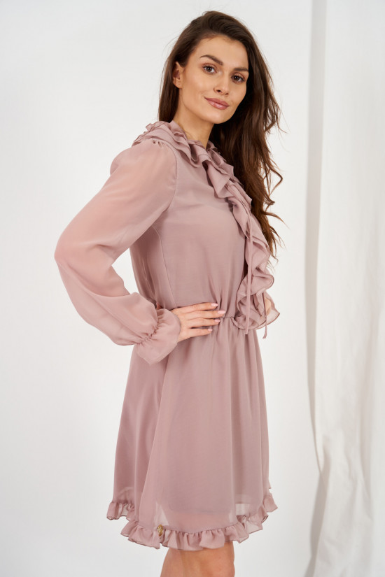 Chiffon dress with silk and ruffle Giselle cappuccino 4