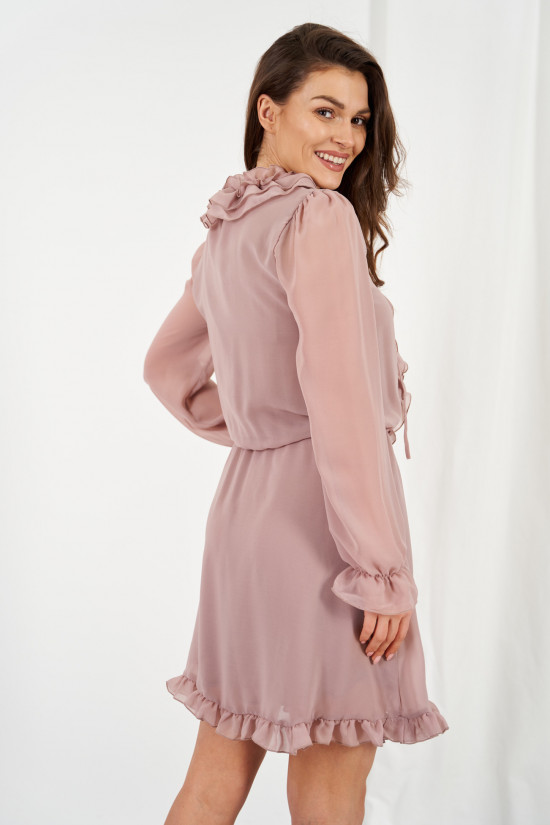 Chiffon dress with silk and ruffle Giselle cappuccino 1