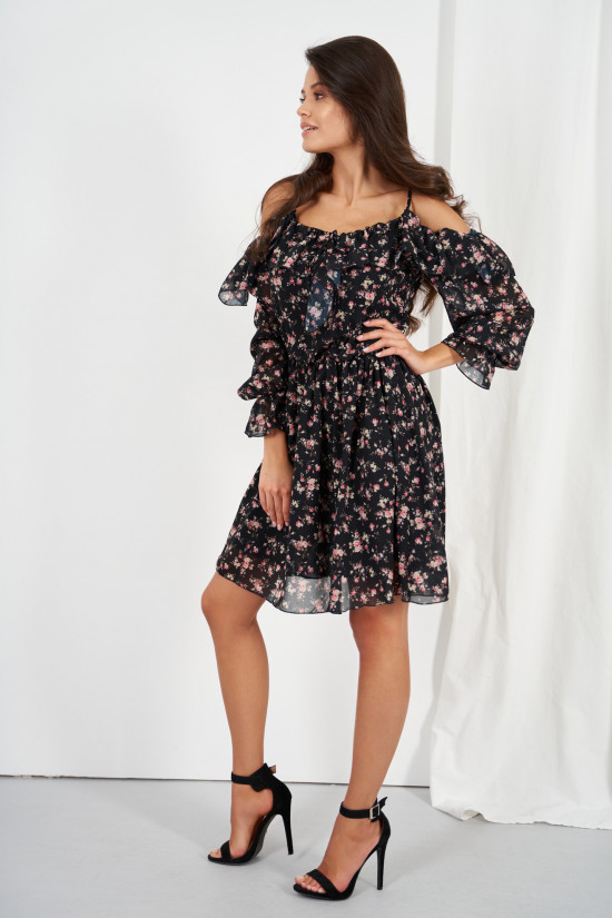 Dress with frills and cold shoulders black with flowers