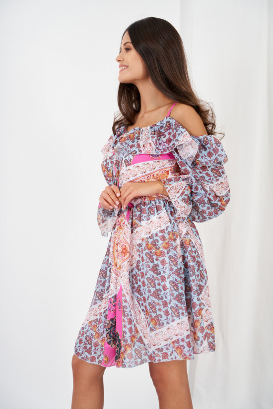 Dress with frills and cold shoulders marocco
