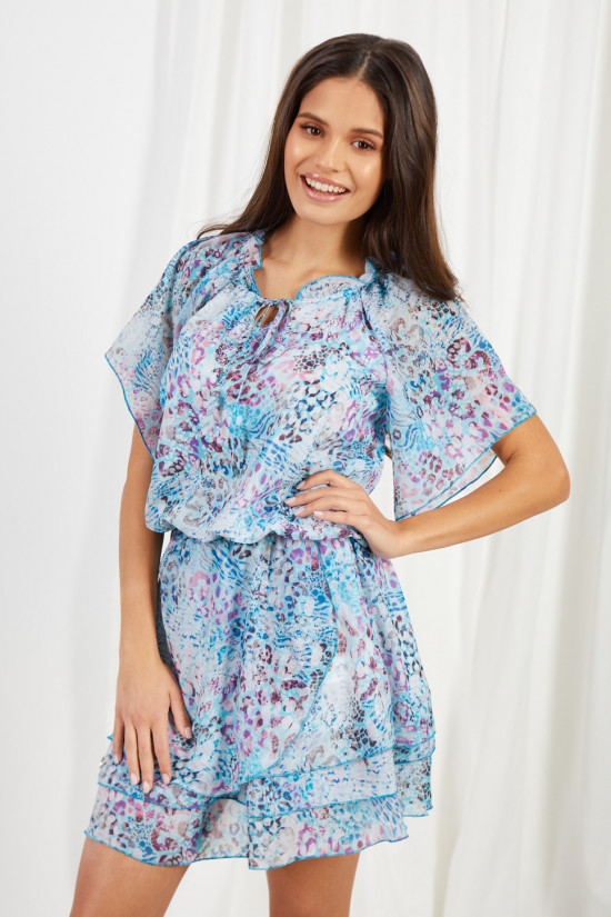 Dress with short sleeves and a tied neckline Natalie blue panther