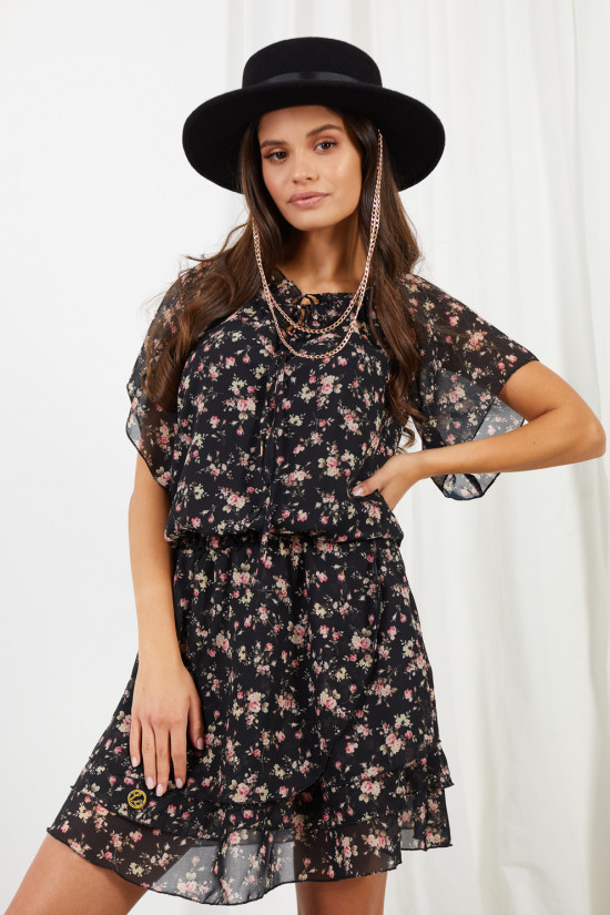 Dress with short sleeves and a tied neckline Natalie black with flowers