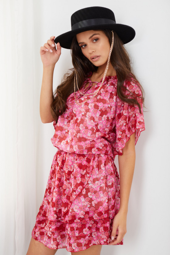Dress with short sleeves and a tied neckline Natalie meadow