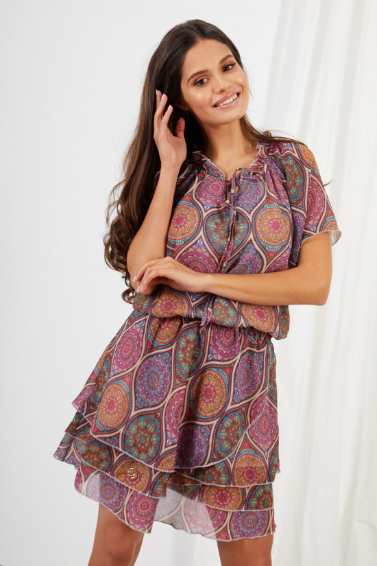 Dress with short sleeves and a tied neckline Natalie marocco