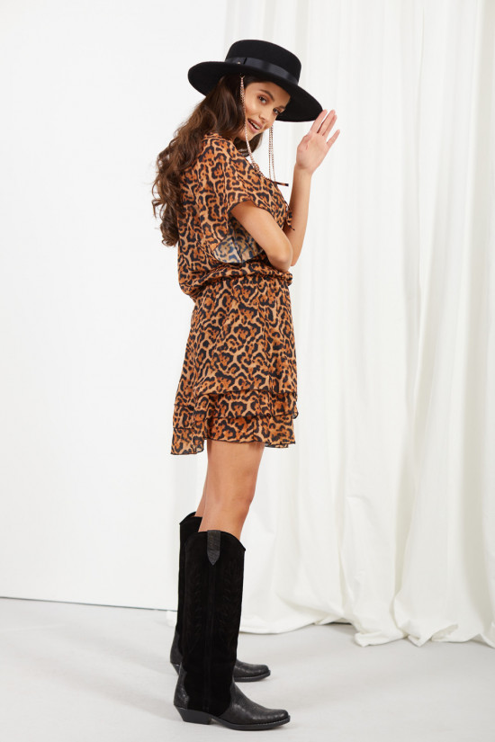 Dress with short sleeves and a tied neckline Natalie panther