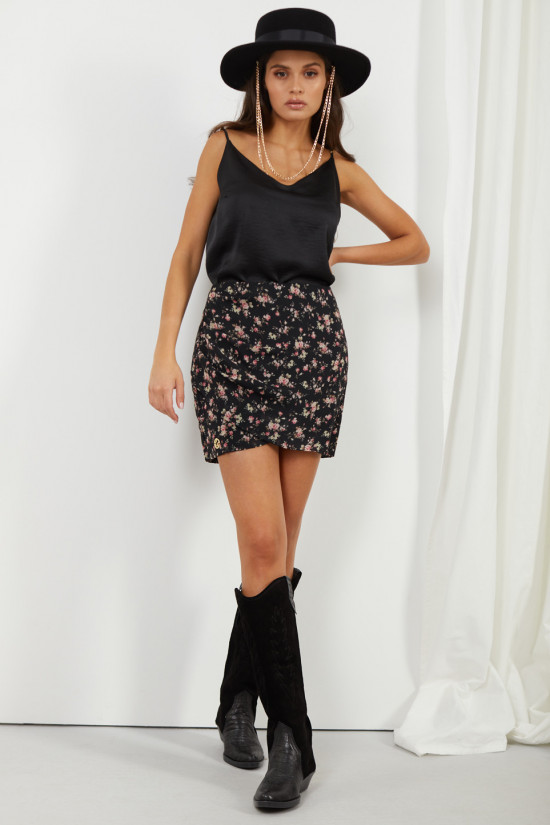 Short skirt with silk Rosalie black with flowers 1