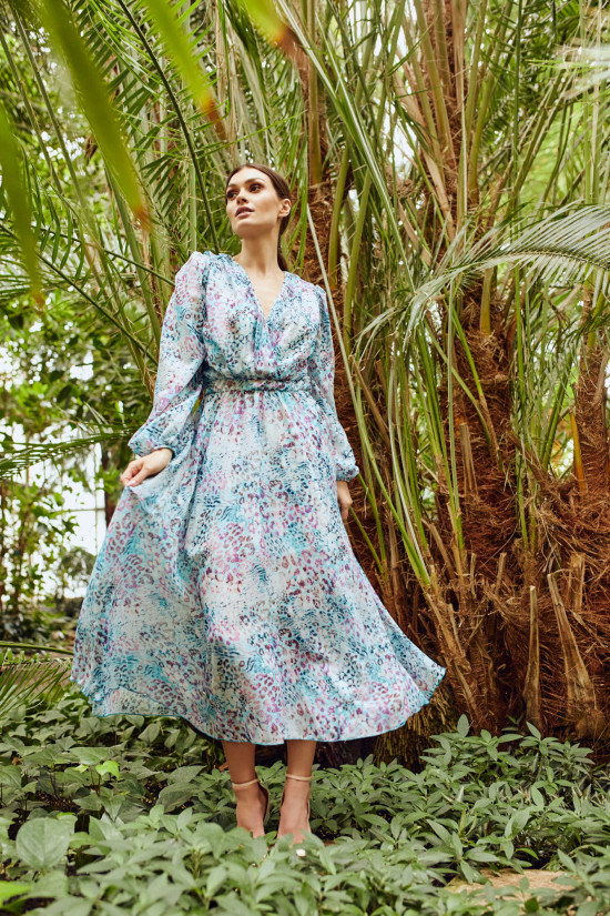 Wrap dress with silk Sloan blue panther