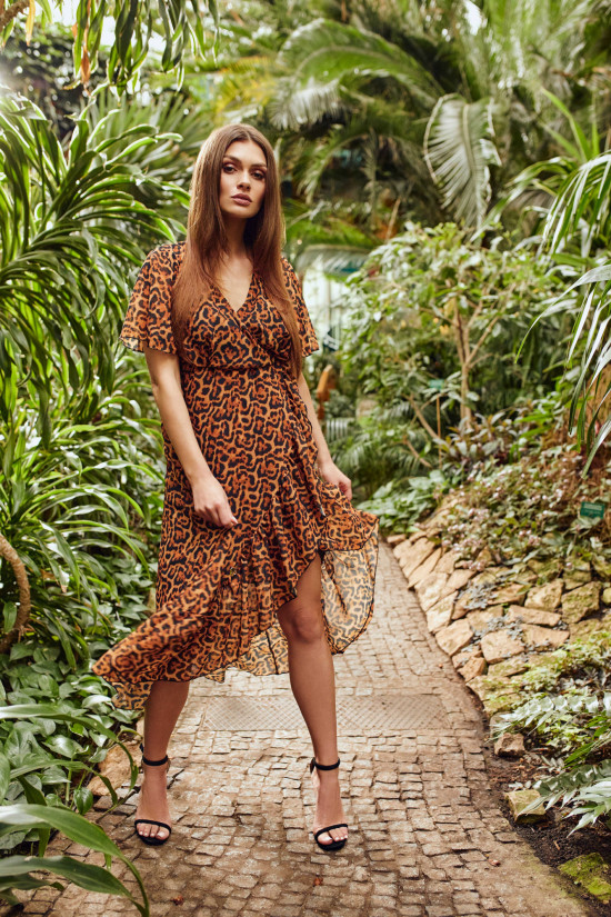 Wrap dress in boho style with frills Laura panther print