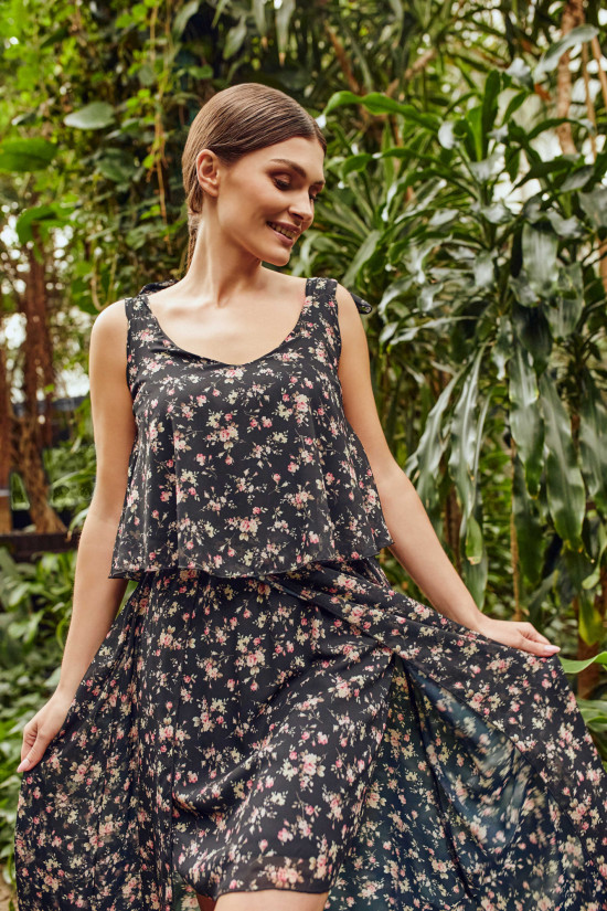 Long dress with tied traps Daisy black with flowers