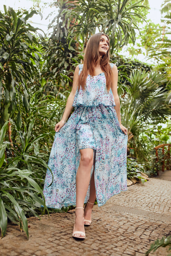 Long dress with tied traps Daisy blue panther