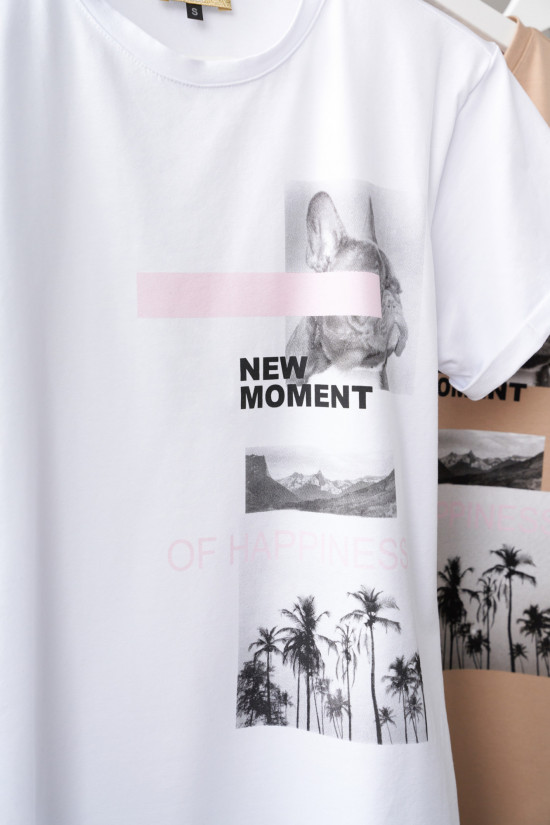 T-shirt New moment of Happiness biały