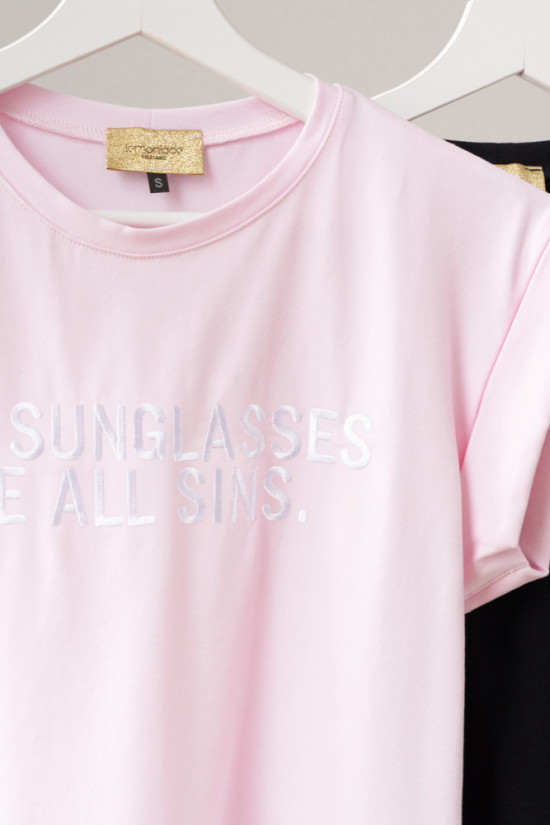 T-shirt with embroidery Sunglasses powder pink 1