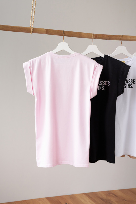 T-shirt with embroidery Sunglasses powder pink 4