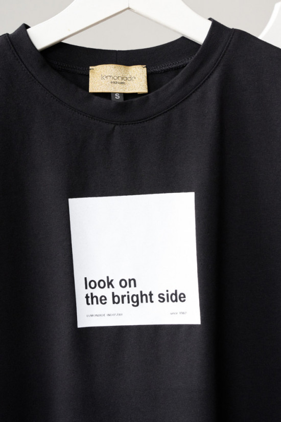 T-shirt Look on the bright side black 1
