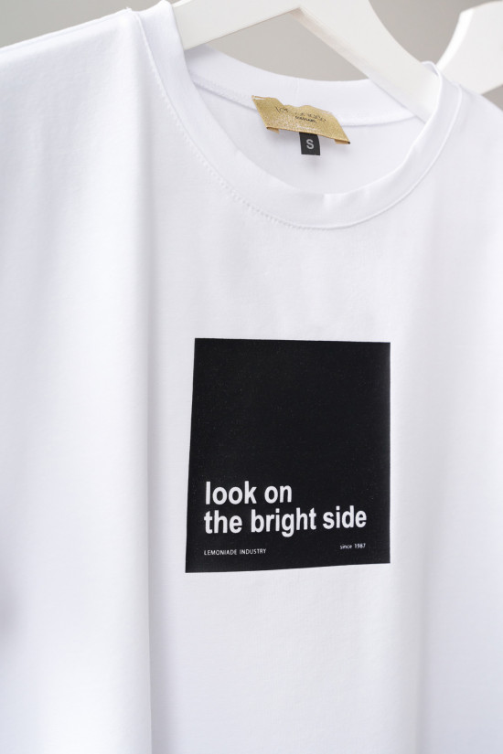 T-shirt Look on the bright side biały