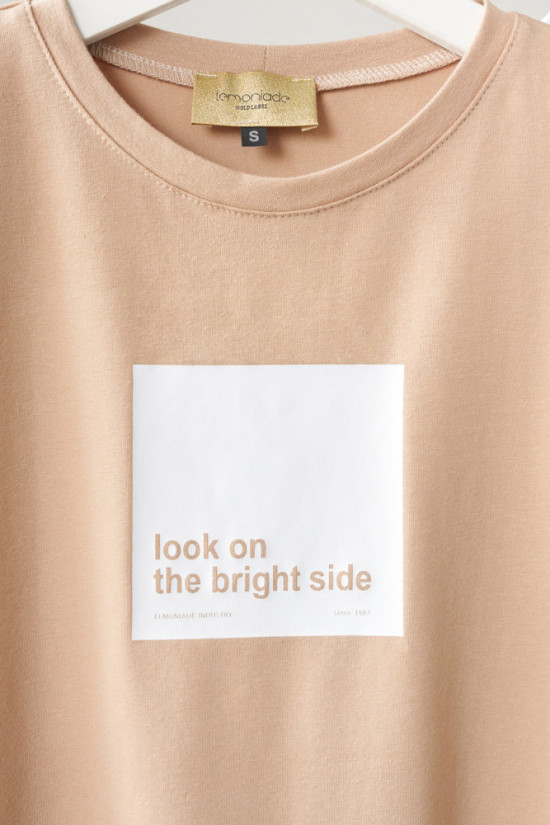 T-shirt Look on the bright side beige 2