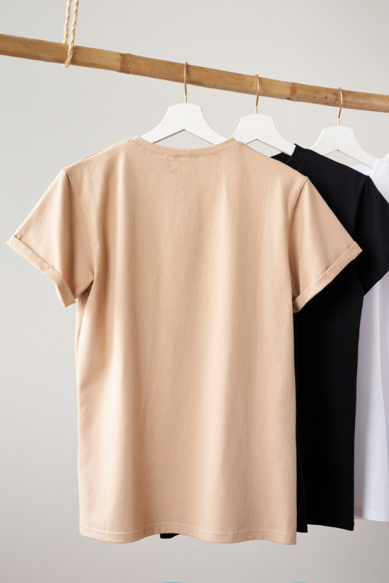 T-shirt Look on the bright side beige 4
