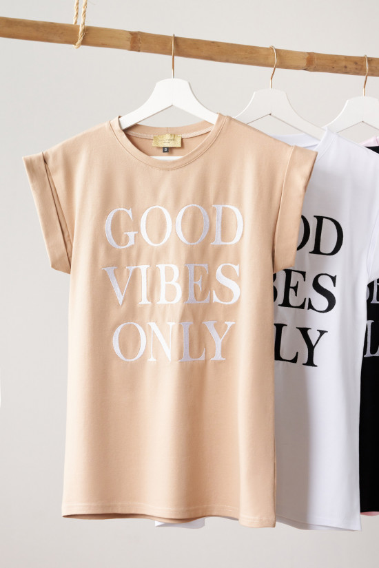 T-shirt with Good Vibes Only embroidery beige