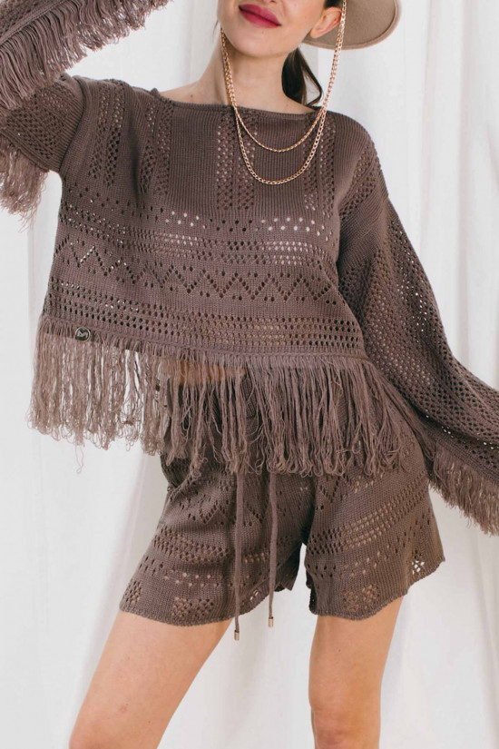 Knitted boho set with fringes Oklahoma cappuccino