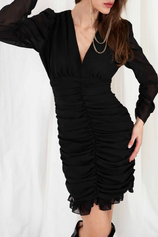 Dress with ruffles and puffed sleeves Vera black