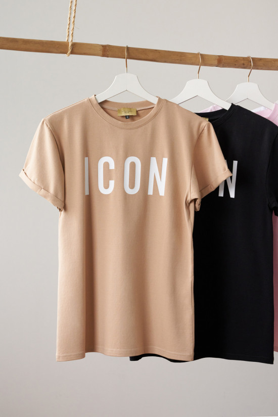 Cotton T-shirt with Icon print beige