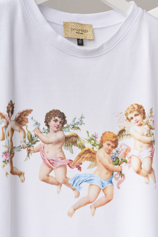 Cotton t-shirt with Angels print white