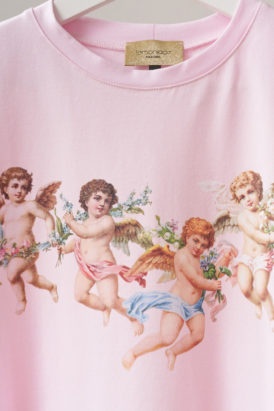 Cotton t-shirt with Angels print powder pink