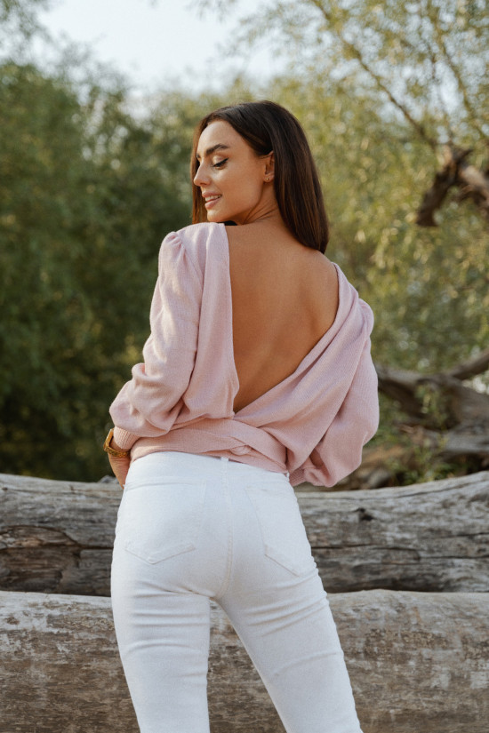 Tied open back sweater Summer powder pink