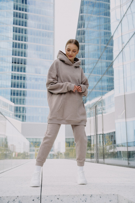 Organic cotton hoodie SHAFTER taupe